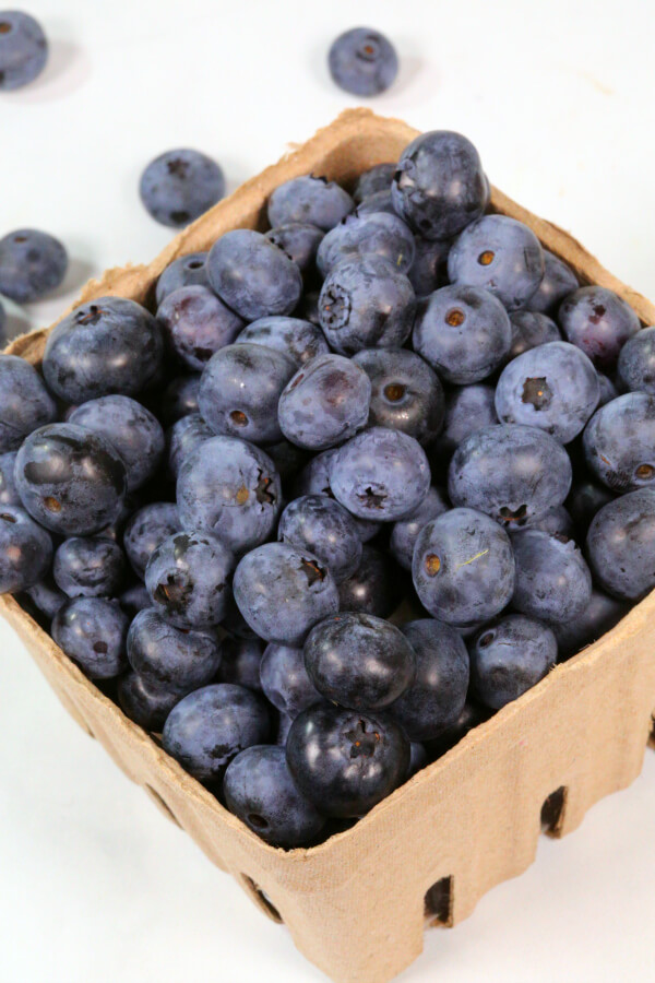 blueberries in a carton.