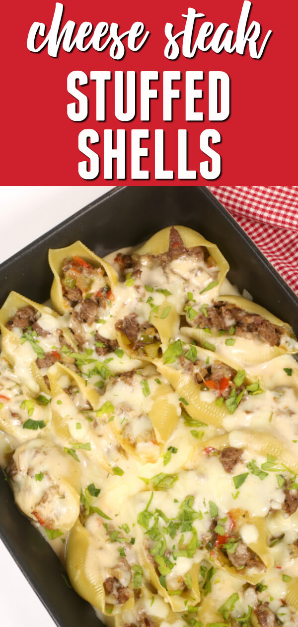 These Philly Cheese Steak Stuffed Shells are a delicious mash-up of two classic recipes.  They're ready in 30 minutes and they freeze great!  #itisakeeper #dinner #pasta #beef #recipe #recipes #easyrecipe #quickrecipe #30MinuteRecipe #PhillyCheeseSteak #StuffedShells #makeahead #freezermeal #freezerfriendly #steak