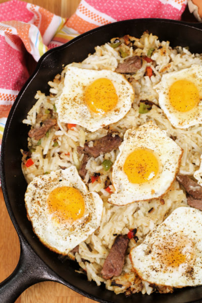 Easy Breakfast Skillets with Steak and Eggs