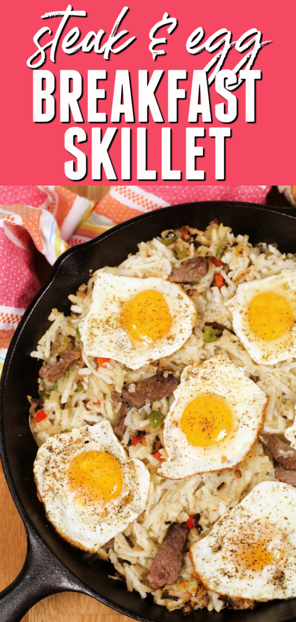 This easy Breakfast Skillets with Steak and Eggs is a hearty way to start your day.  #itisakeeper #recipe #recipes #easyrecipe #quickrecipe #breakfast #onepotrecipe #skilletmeal #steak #eggs #proteinrich #easybreakfast #30minuterecipe #30minute