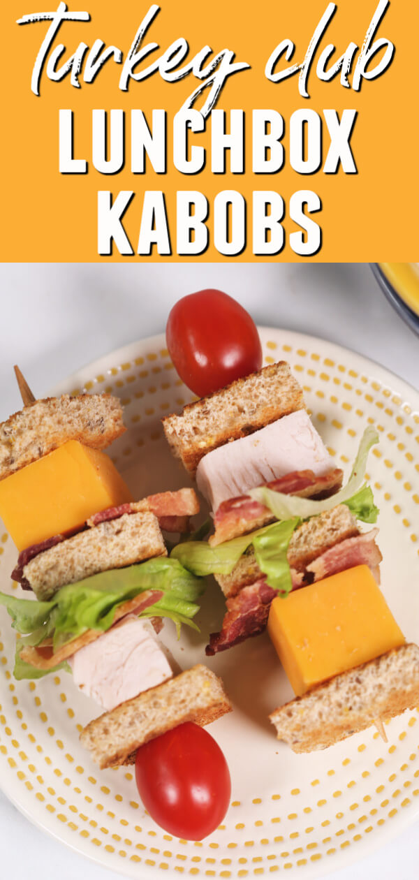 Have some fun with your kids' lunches by turning a boring sandwich into these Turkey Club Lunchbox Kabobs! These sandwich skewers go perfectly with my Yogurt Ranch Dipping Sauce. #itisakeeper #recipe #recipes #easyrecipe #quickrecipe #lunchbox #kabob #kidfriendly #lunch #yogurt #dippingsauce #turkeyclub #turkey #cheese #skewer