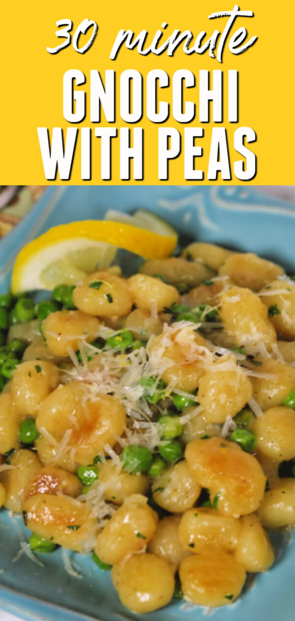This easy 30 minute Gnocchi and Peas recipe is a great meatless meal for busy days.  #itisakeeper #recipe #recipes #easyrecipe #quickrecipe #dinner #skillet #onepot #30minuterecipe #peas #gnocchi #meatless