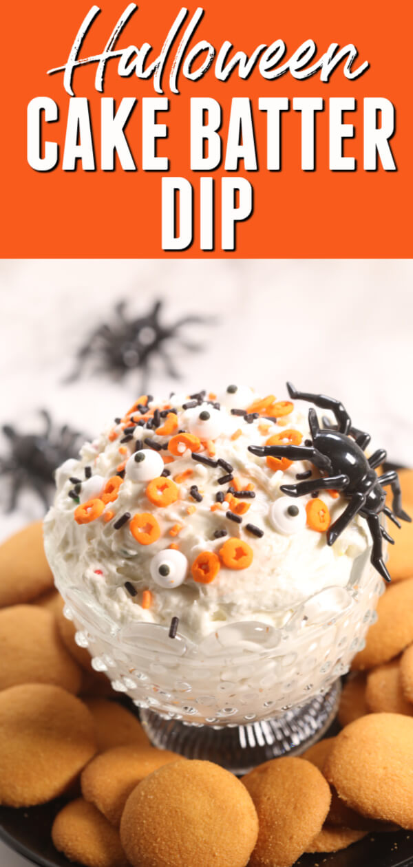 This easyHalloween Funfetti Cake Dip is always a crowd pleaser! With only three simple ingredients, it only takes minutes to make. #itisakeeper #halloween #cakedip #easydip #threeingredients #cakebatterdip #easyrecipe #simplerecipe #halloweenpartyfood #halloweensnack #halloweenrecipe