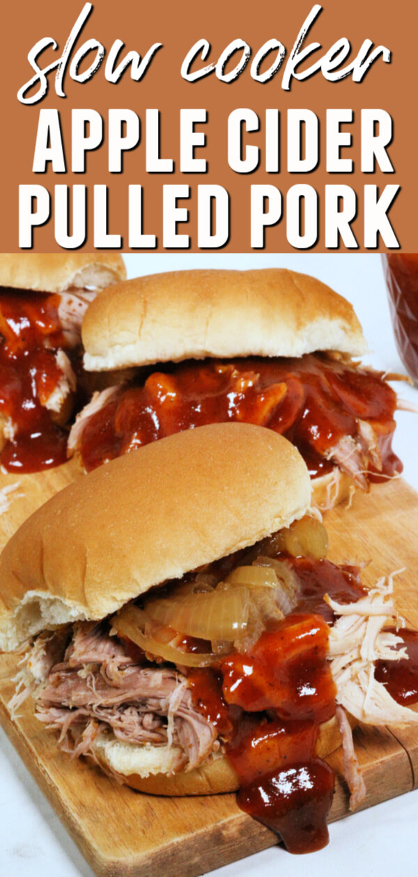 This easy slow cooker pulled pork recipe with apple cider sauce is a delicious recipe that is perfect for fall.  #itisakeeper #recipe #recipes #slowcooker #crockpot #pulledpork #pork #applecider #sandwiches #easyrecipe