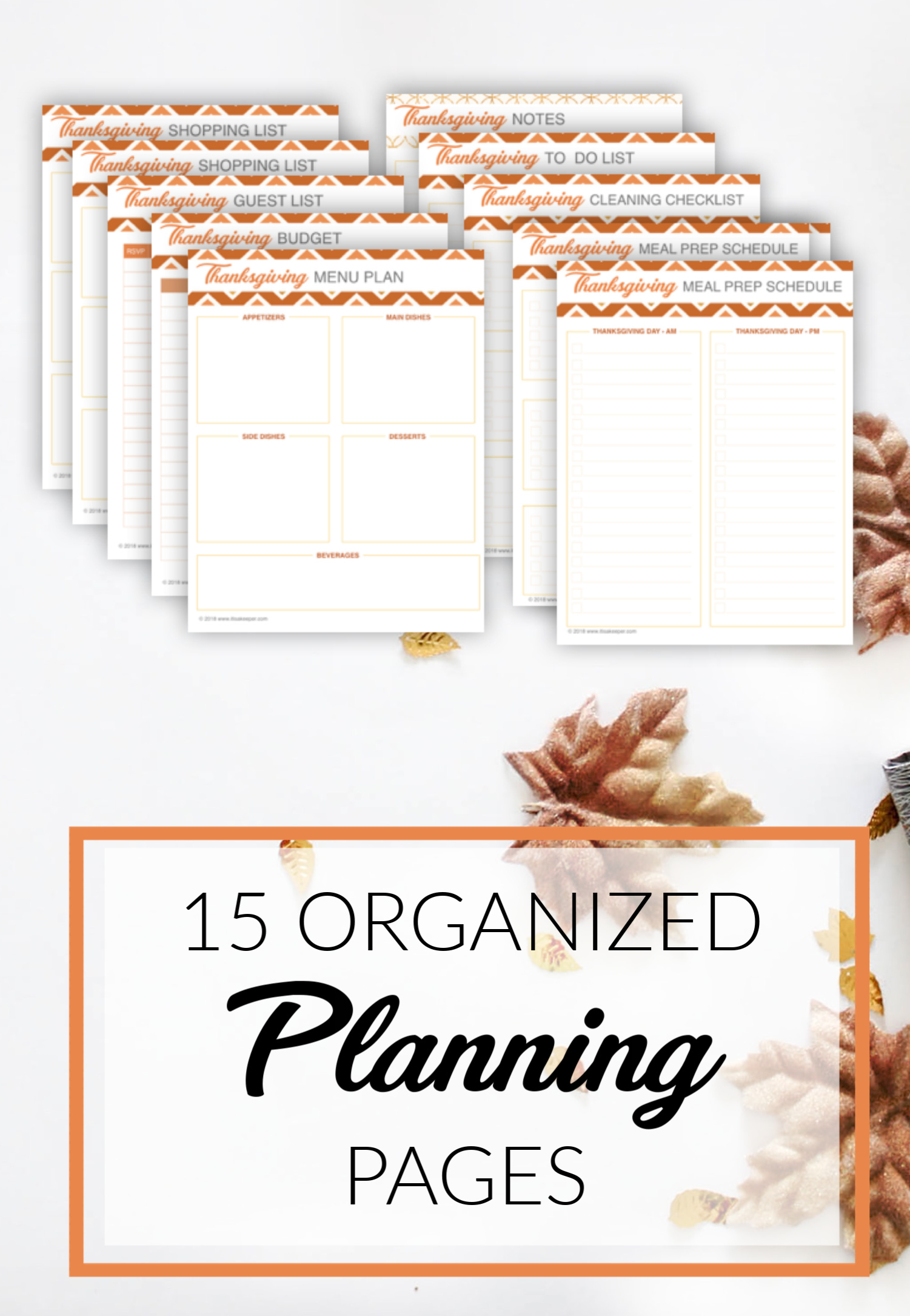 THANKSGIVING DAY PRINTABLE PLANNER PLANNING PAGES