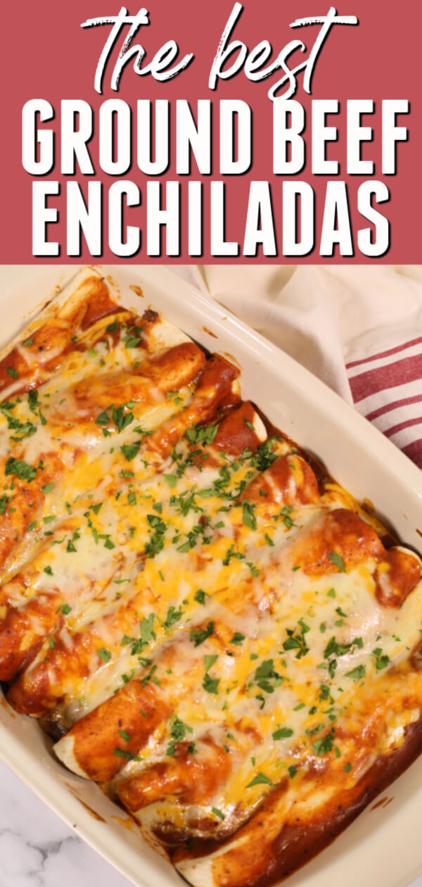 These are the best Ground Beef Enchiladas! They are ready in about 30 minutes and my family goes crazy for them every time. #itisakeeper #recipe #recipes #easyrecipe #quickrecipe #dinner #groundbeef #freezermeal #freezerfriendly #makeahead #mexicanrecipe #30minuterecipe #cincodemayo #beef #enchiladas #beefenchiladas