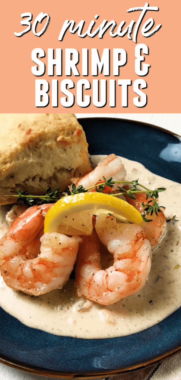 This easy Creamy Shrimp and Biscuits recipe seems very elegant but only takes 30 minutes to make.  Plus, the biscuits are made from scratch!  #itisakeeper #recipe #recipes #shrimp #biscuits #30minuterecipe #quickrecipe #easyrecipe #dinner #skillet