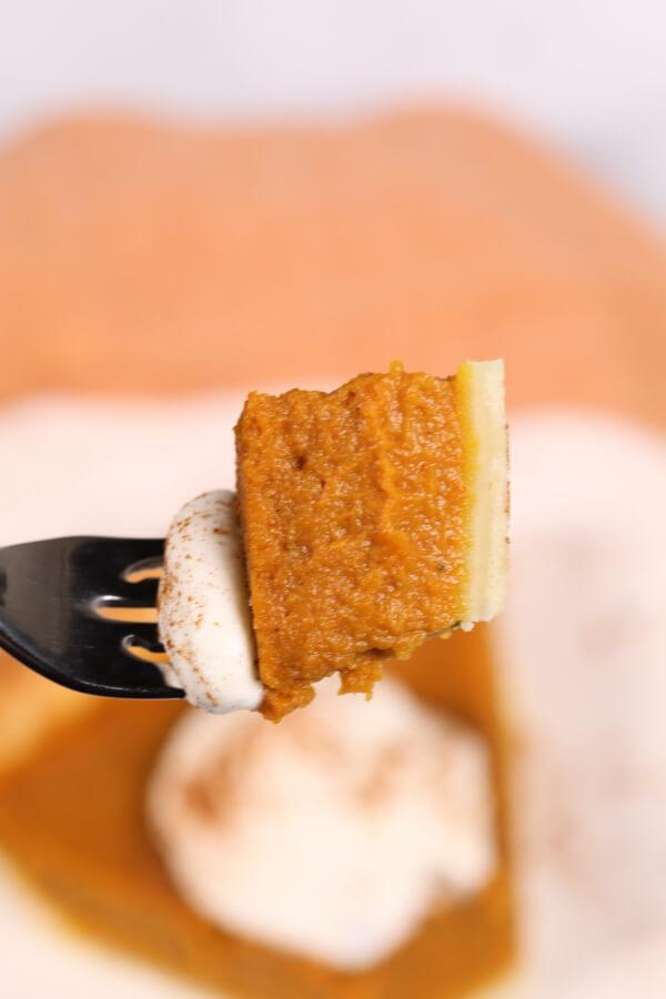 Libbys pumpkin pie piece on a fork