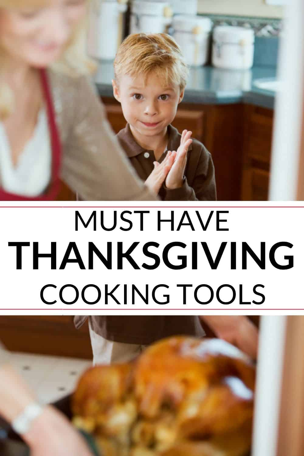 Thanksgiving meal coming out of the oven with child