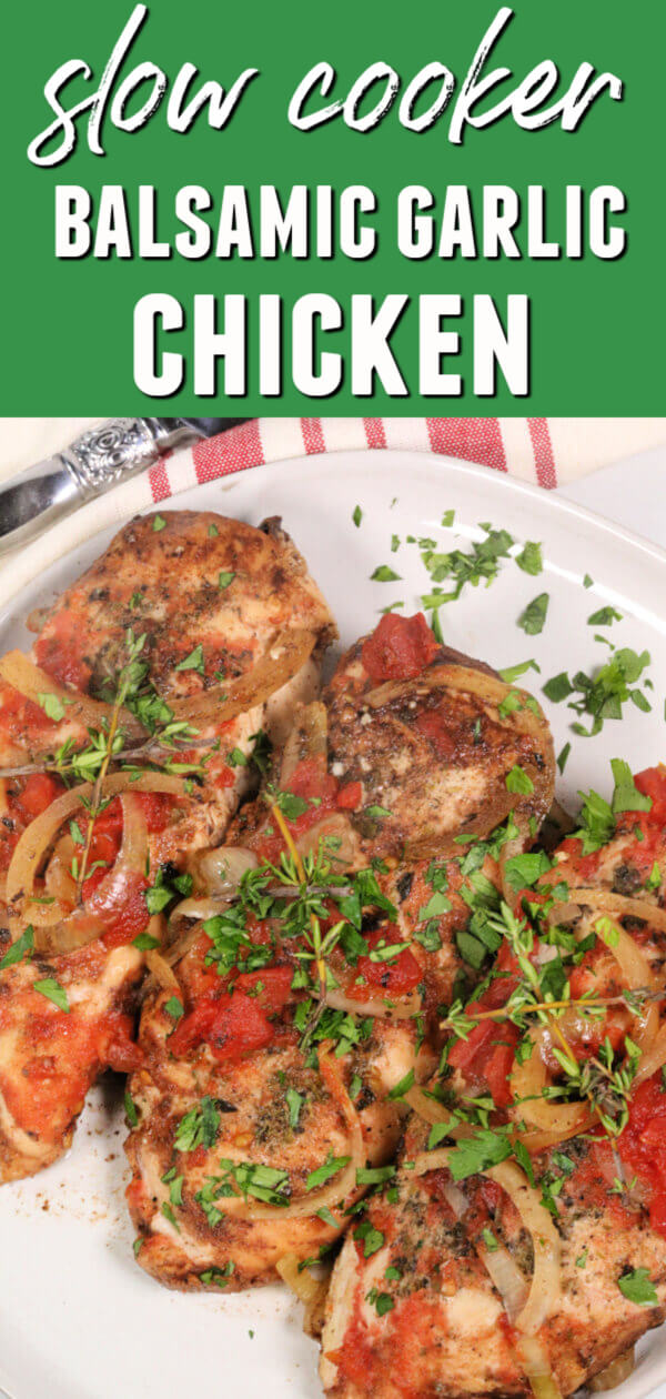 This easy Slow Cooker Balsamic Chicken with Garlic packs a real flavor punch! It's one of my favorite slow cooker chicken recipes.  #itisakeeper #slowcooker #crockpot #chicken #easyrecipe #makeaheadrecipe #recipe #recipes #balsamic