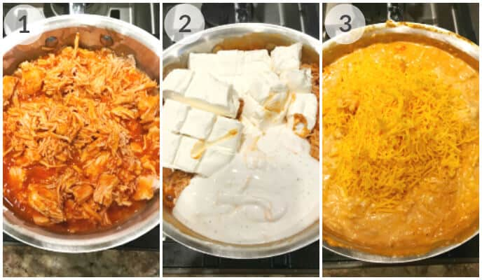 step by step photos for making crock pot buffalo chicken dip