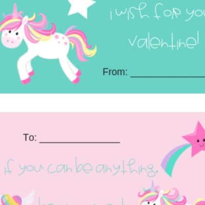 Unicorn Valentines Printables