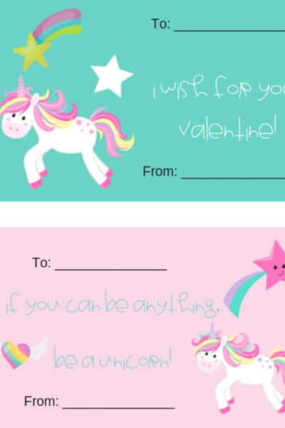 printable unicorn themed valentines