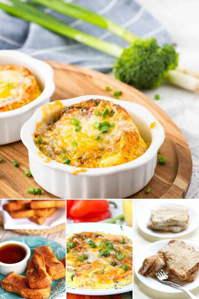 A collection of air fryer recipes including egg cups, french toast, french toast sticks and a frittata