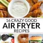 A collection of air fryer recipes including wings, pizza, donuts and burgers