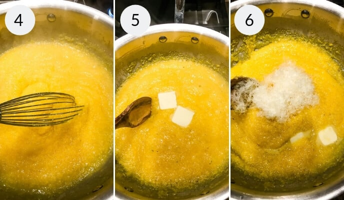Step by step instructions for how to make polenta, Step 1: polenta mixture in a saucepan, being mixed. Step 2: Saucepan with a polenta mixture with butter being mixed in with a wooden spoon. Step 3: Cheese and butter being mixed into the polenta mixture with a wooden spoon.