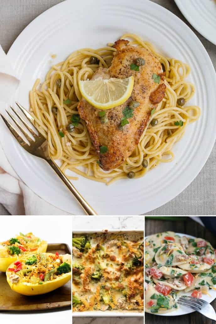 A collection of healthy dinner ideas for two including chicken picatta, spaghetti squash and other pasta dishes
