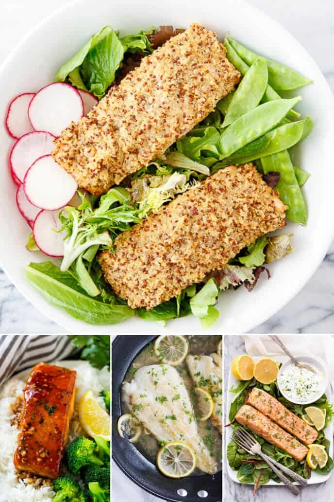 A collection of healthy dinner ideas for two including salmon and other fish recipes