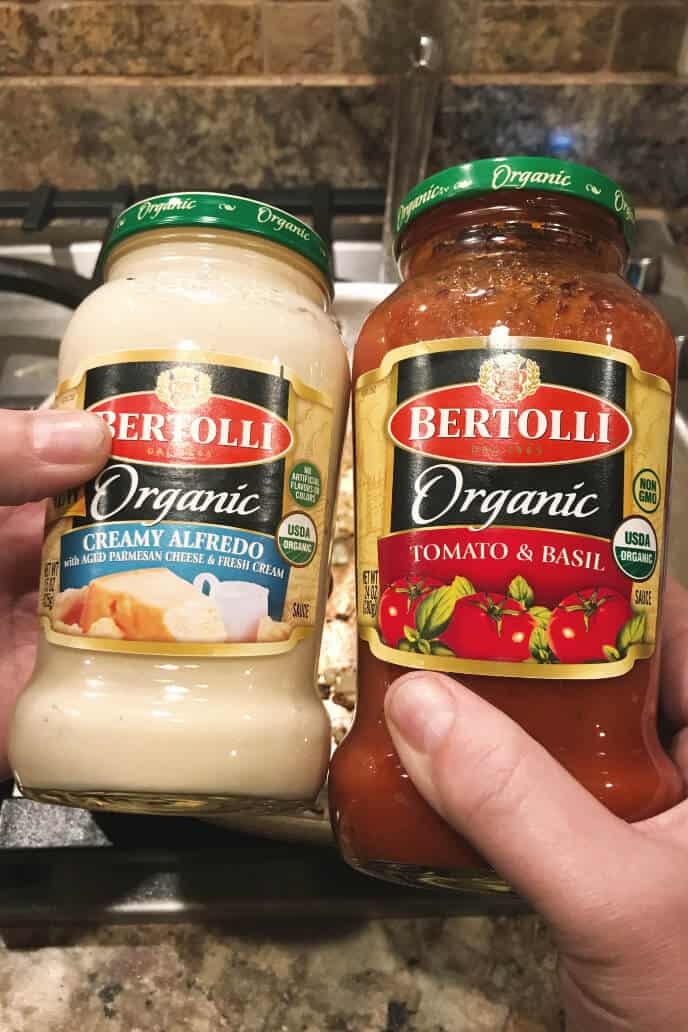Bertolli Alfredo Sauce and Bertolli Tomato and Basil Sauces in jars