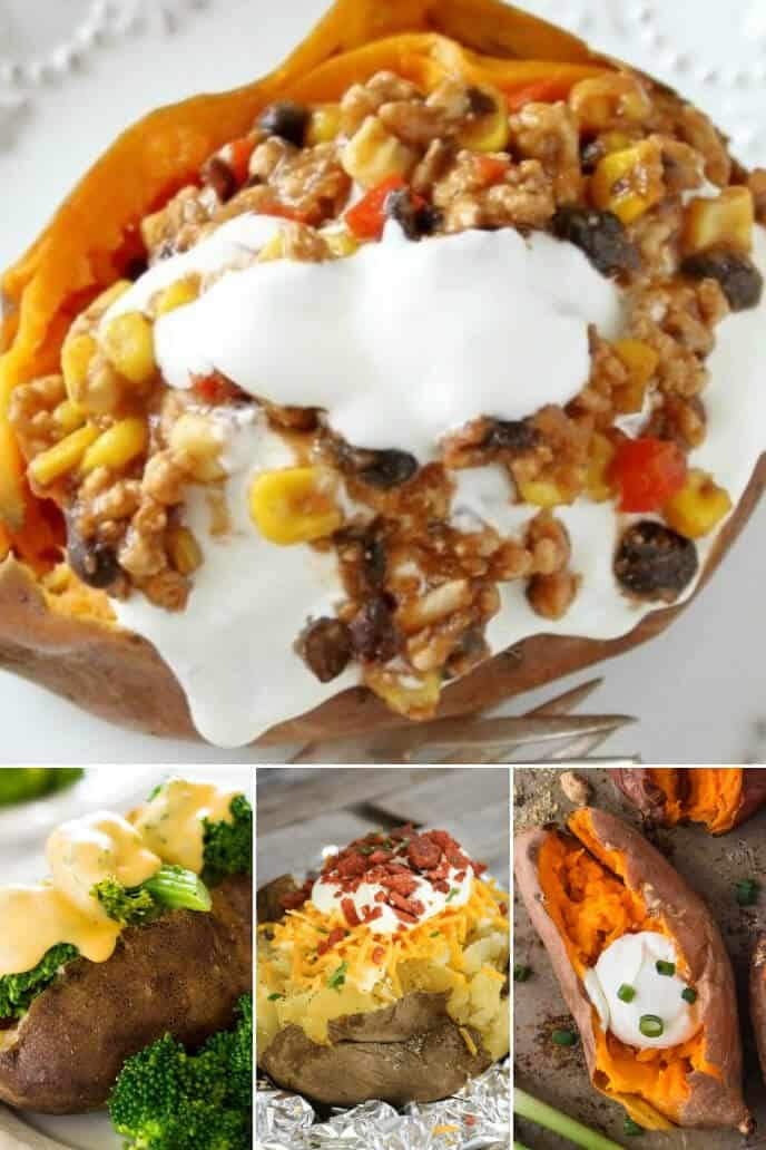 A collection of crock pot baked potatoes