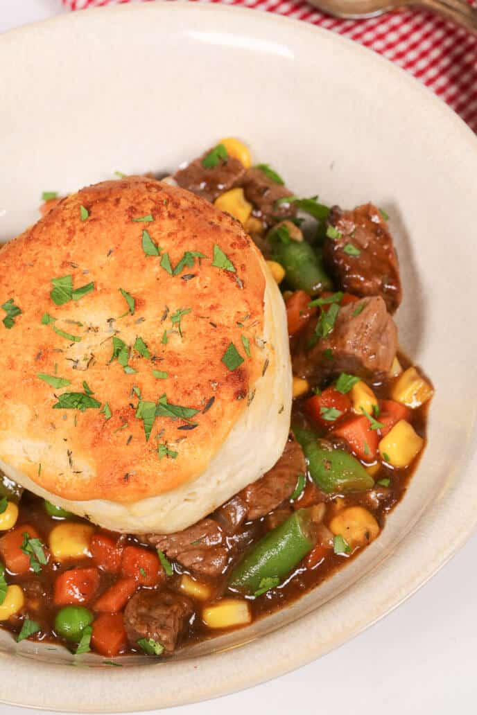 Skillet Beef Pot Pie in a white bowl