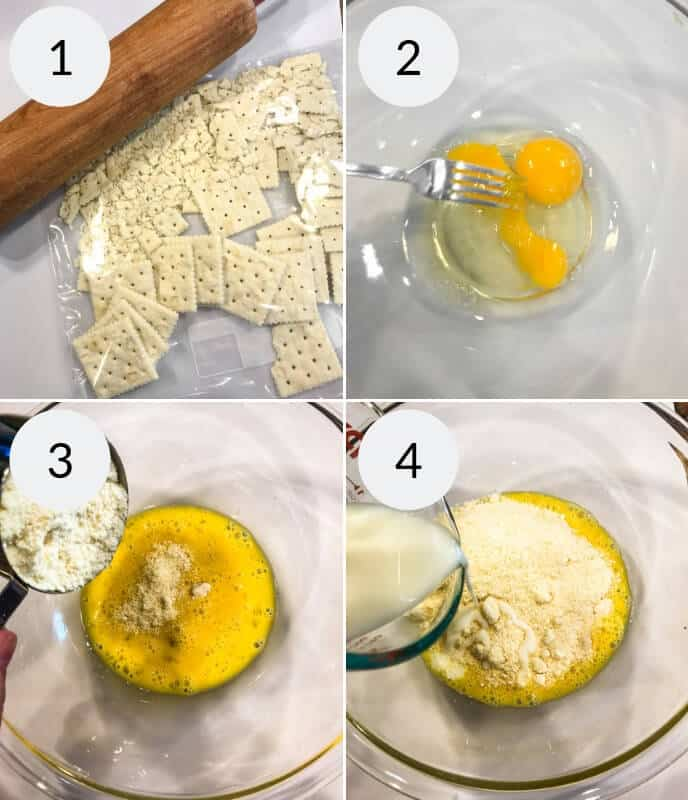 Step by step instructions for making Instant Pot Meatloaf, Image 1 wooden rolling pin with crushed saltines, Image 2 metal fork whisking eggs in a glass bowl, Image 3 adding satline mixture to whisked eggs in a glass bowl with a measuring cup, Image 4 adding milk from a glass to the glass bowl with the egg and saltine mixture