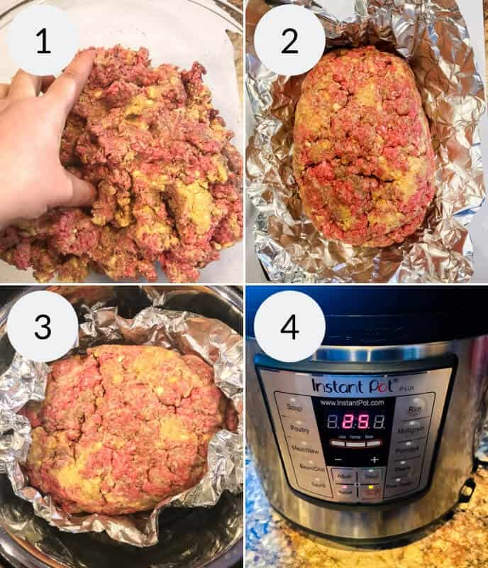 Step by step instructions for making Instant Pot Meatloaf
