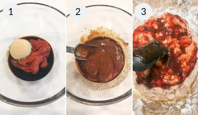Step by step instructions for making Instant Pot Meatloaf glaze, Image 1 glass bowl with brown sugar and sauce in it, Image 2 glass bowl with brown mixture and metal spoon, Image 3 sauce spread out on foil and a spoon