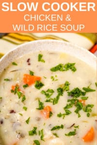 bowl of Slow Cooker Chicken and wild rice soup