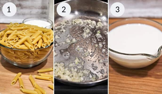 Step by step instructions for making Garlic Parmesan Chicken Pasta bake