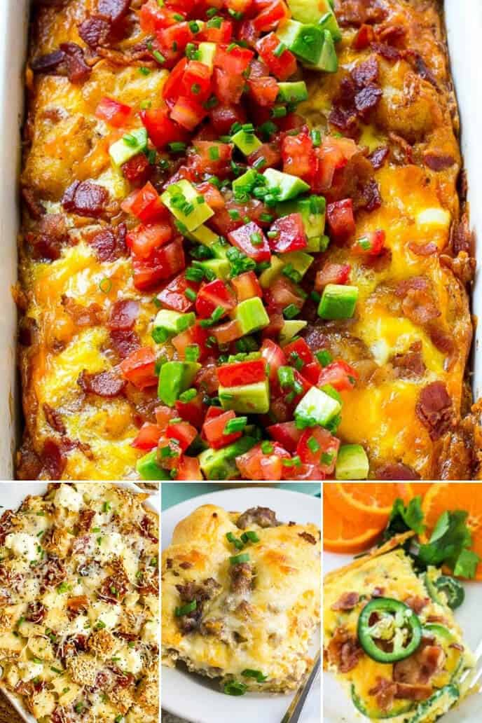 A collection of breakfast casserole with bacon