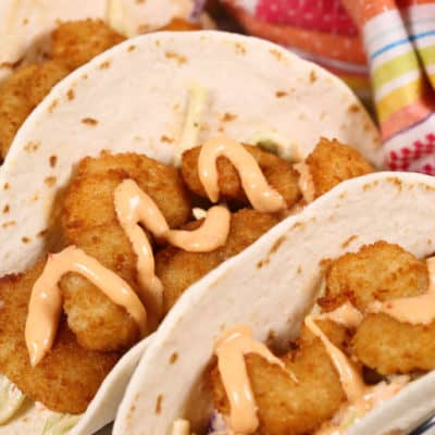 Shrimp Tacos with Boom Boom Sauce