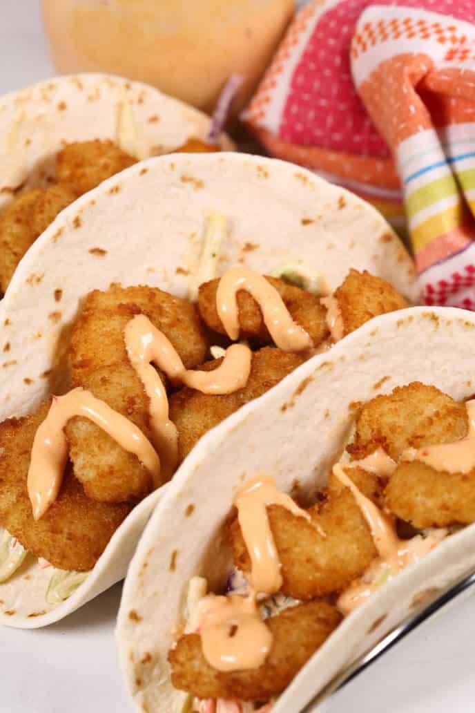 Boom Boom Shrimp Tacos with Fiesta Napkin