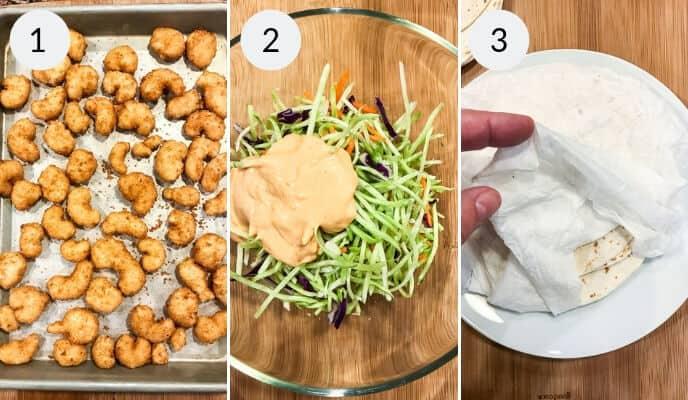 Steps for making Boom Boom Shrimp Tacos