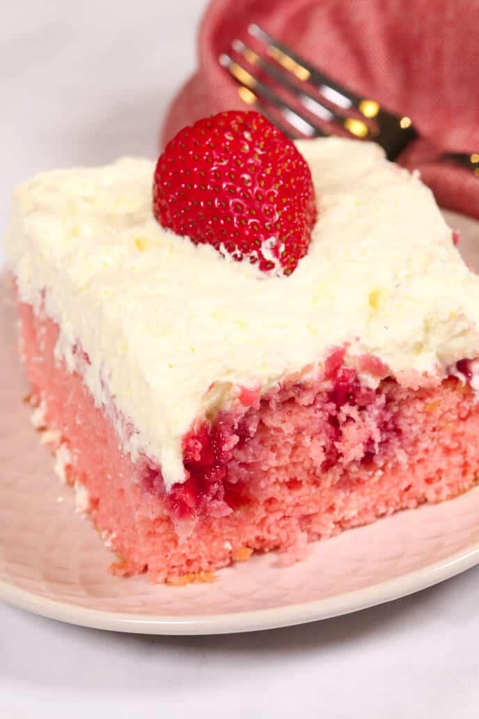 Fresh Strawberry Poke Cake It Is A Keeper