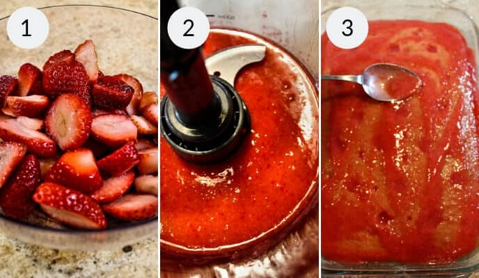 Step by step instructions for making fresh strawberry poke cake