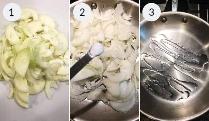onions on cutting board and skillet