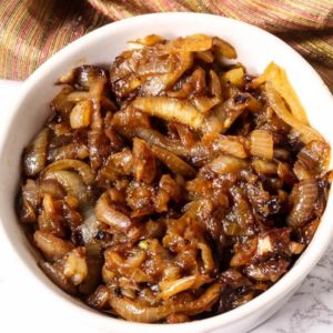 Caramelized Onions in round dish