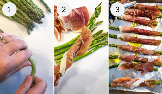 step by step instructions for making asparagus with prosciutto