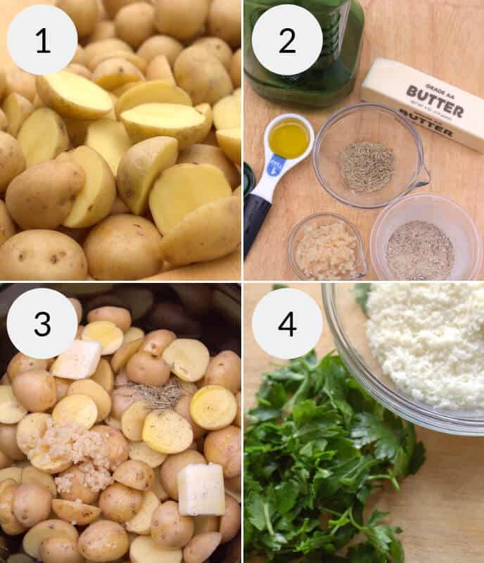 Step by step instructions, potatoes and ingredients