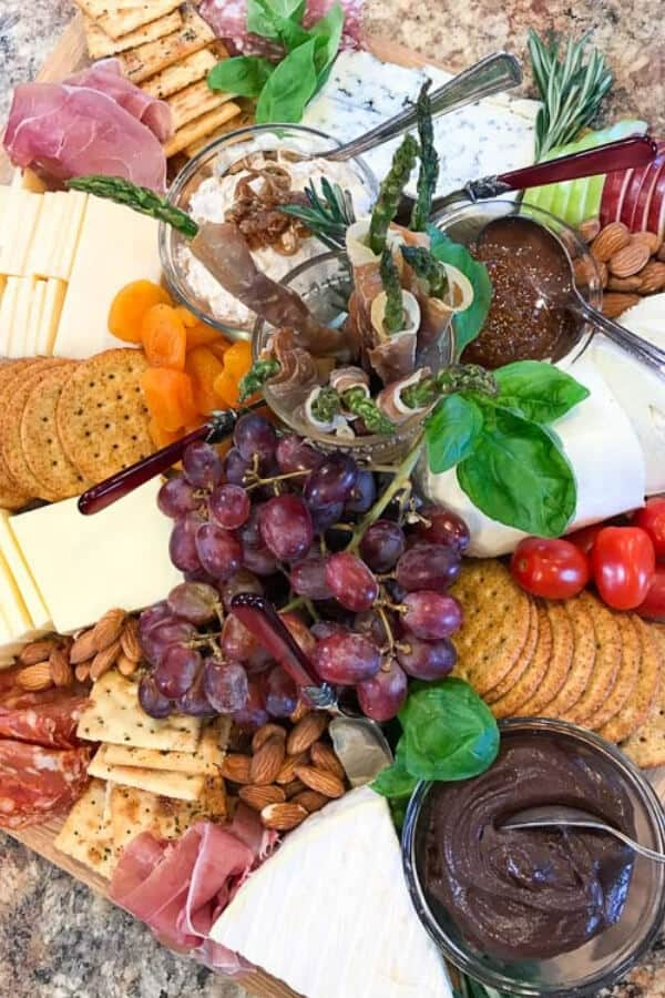 A fully assembled cheeseboard