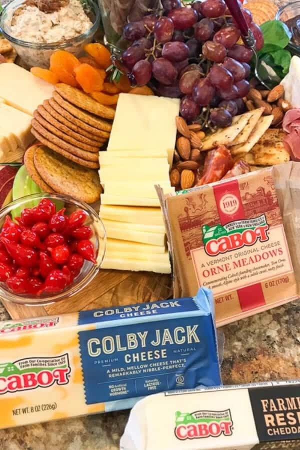 cheeseboard with cabot cheese