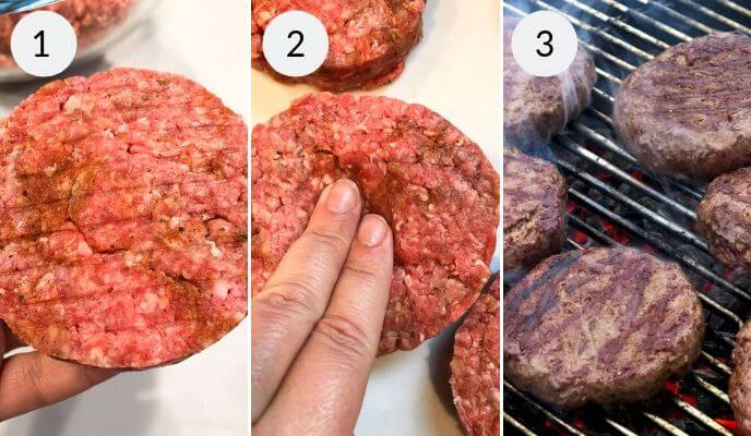 Beef Burgers formed into Patties and placed on grill