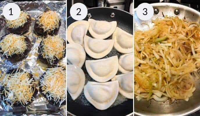 Final steps for making pierogie burgers