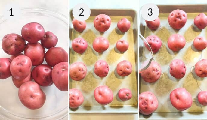 Step by step instructions for making smashed potatoes