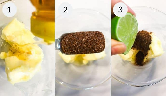 butter in a bowl, seasoning being added to bowl, lime being added to bowl.