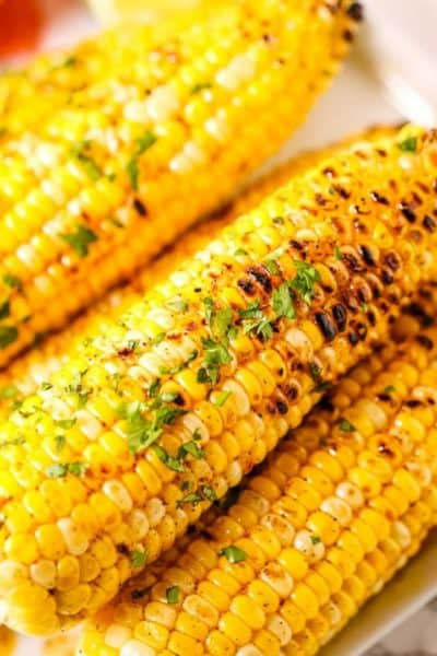 Chili Lime Corn stacked on a plate