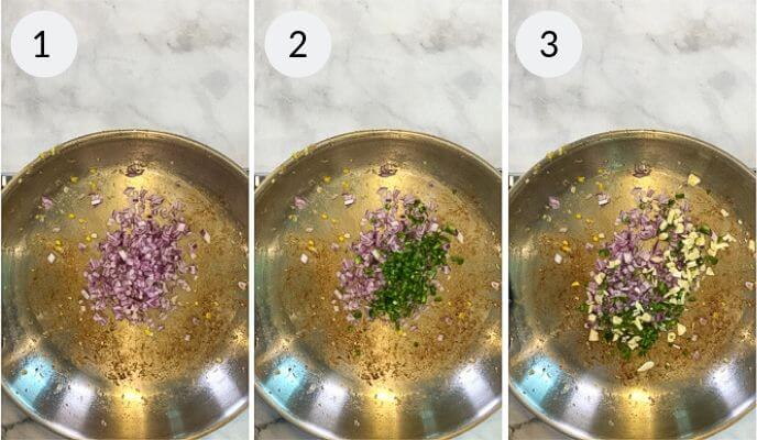 Frying Pan sauteeing vegetables