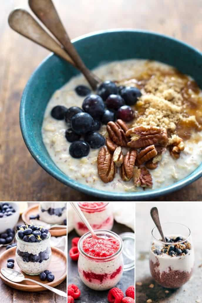 collection of healthy overnight oats