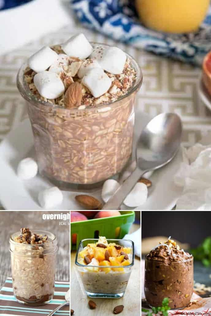 Collection of overnight oats with yogurt